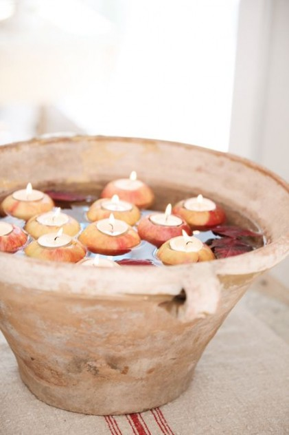 decoracion en otoño velas con agua
