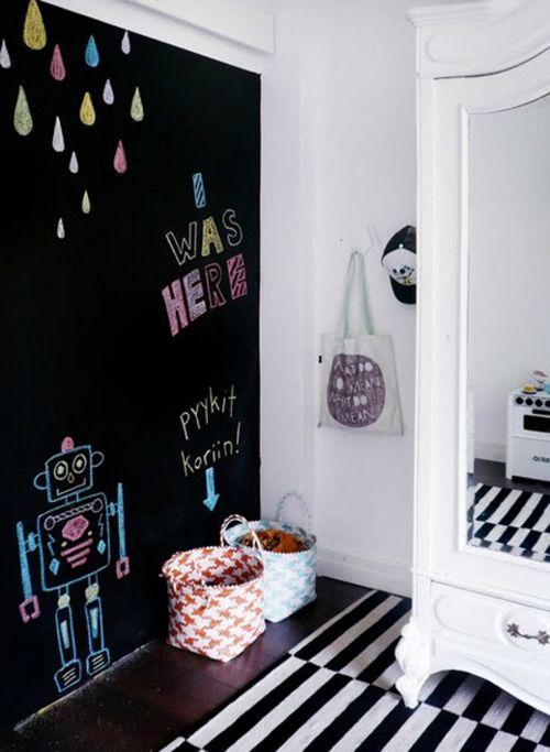 Recursos decorativos paredes de pizarra para los m s peque os for Revestimiento paredes interiores pizarra