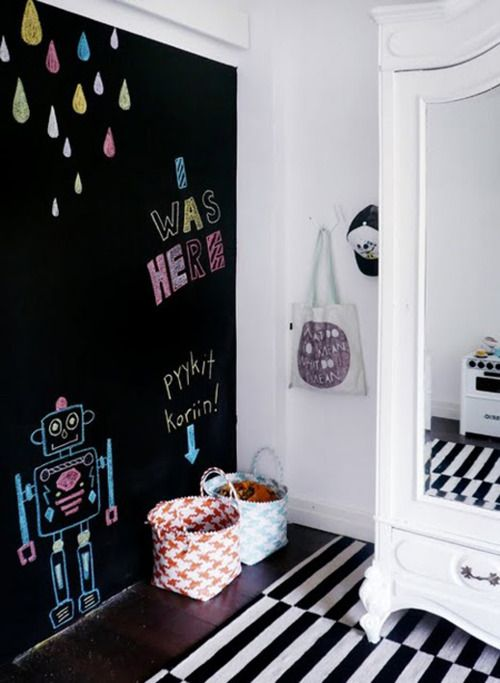 Recursos decorativos paredes de pizarra para los m s peque os - Pared de pizarra ...