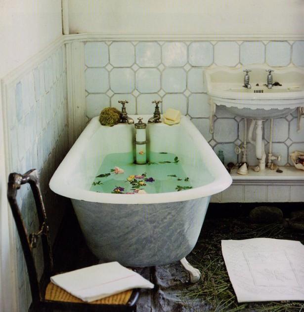 cuarto de baño bohemian chic
