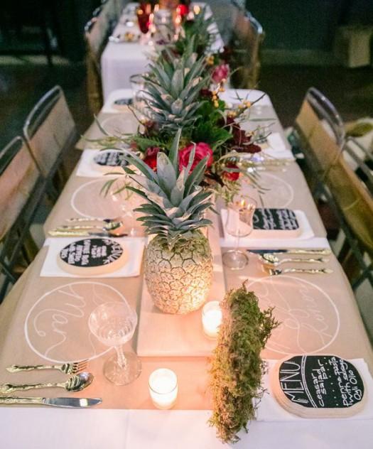 decoración con piñas de centro de mesa