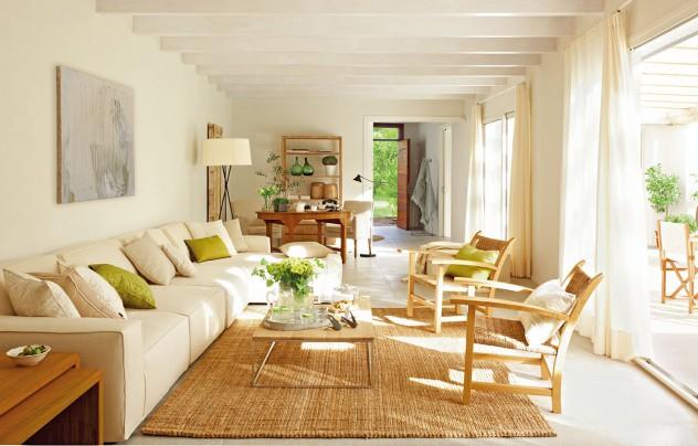 salon con alfombra de ratán