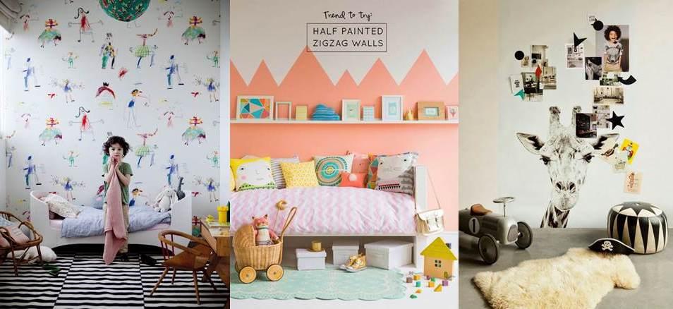 Papel pintado en dormitorios infantiles escuela - Habitaciones pintadas infantiles ...