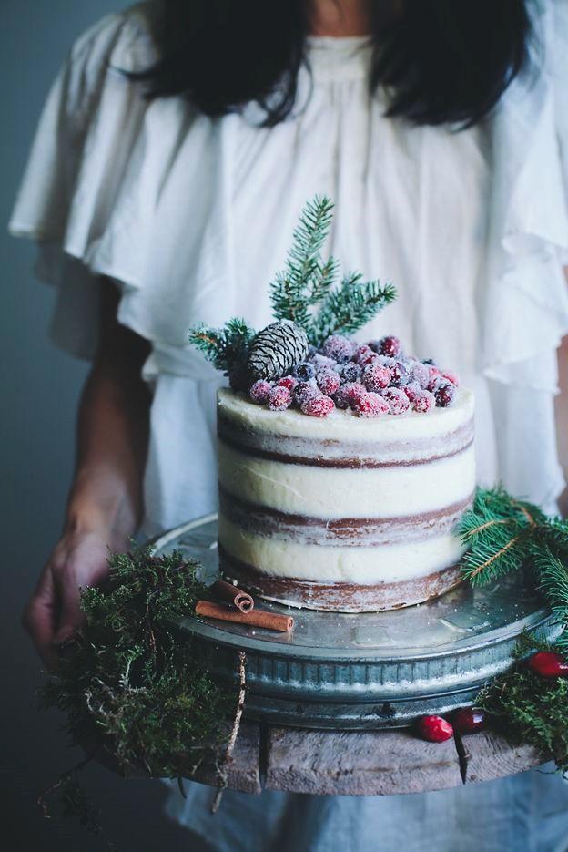 decoración tartasde boda de invierno