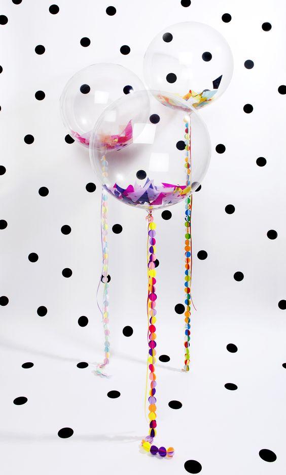 decorar con globos con confeti