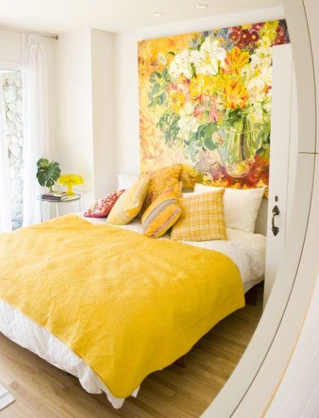 decoración de dormitorio amarillo