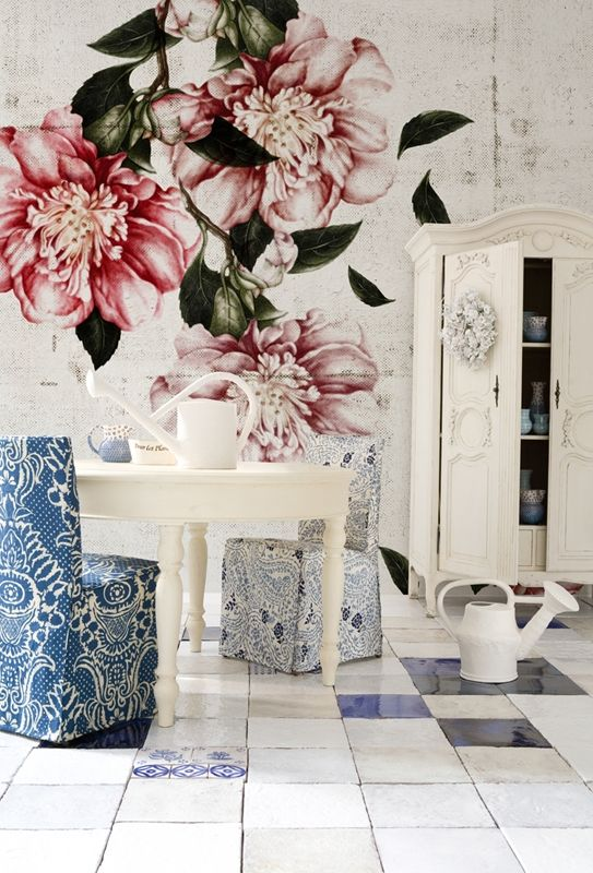 mural shabby chic de flores de gran formato