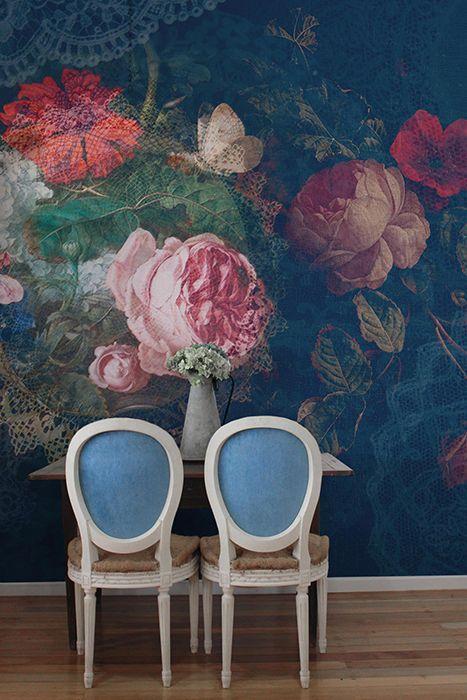pared flores de gran formato