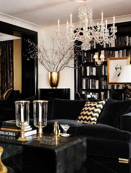 decoracion negro color oro