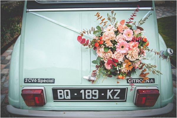 las flores en coche