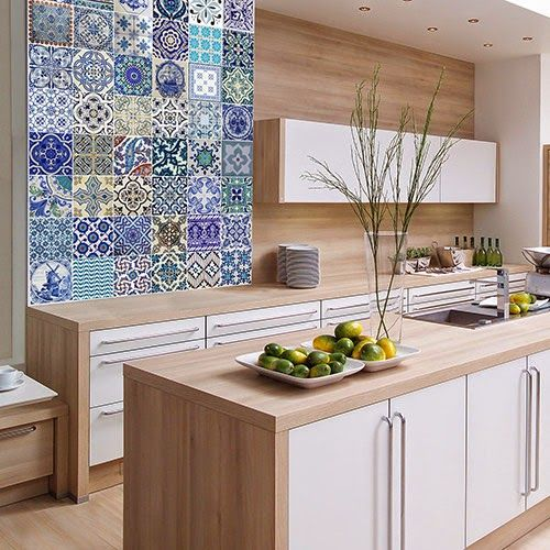 baldosas hidráulicas pared cocina