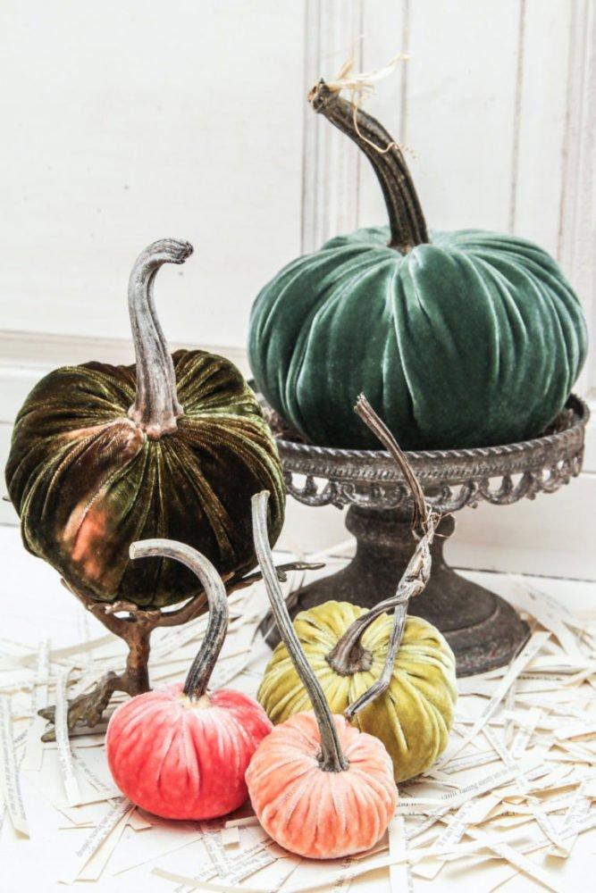 calabazas de terciopelo decoracion de halloween