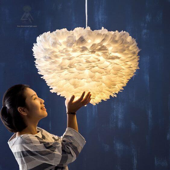 lámpara de hojas de plumas